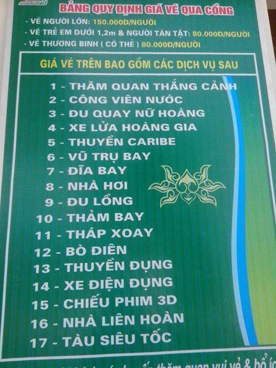 Bảng giá dịch vụ ở Đảo Ngọc Xanh