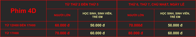 Giá vé 4D rạp Quốc Gia