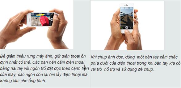 Giữ chắc điện thoại khi chụp ảnh bằng tay