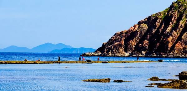 Dải đất hiện ra khi thủy triều rút ở Nhơn Hải. Ảnh: Huỳnh Ngọc Lắm