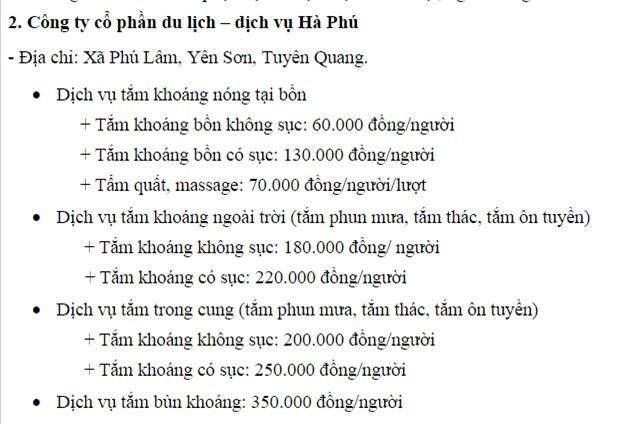 Dịch vụ suối khoáng Hà Phú
