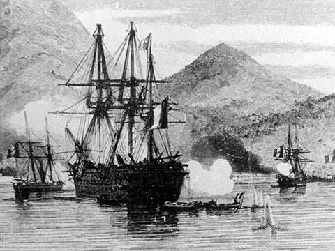 Chiến thuyền của liên quân Pháp-Tây Ban Nha tấn công bán đảo Sơn Trà 1958