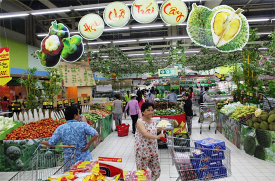Gian hàng rau củ quả siêu thị Big C Thăng Long