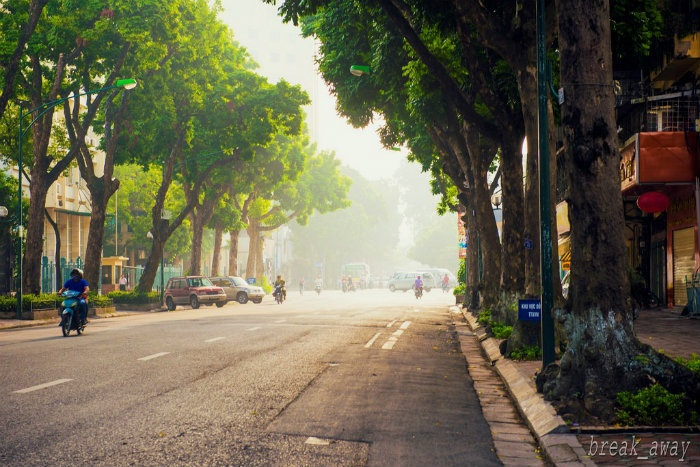 Trên những con đường an yên buổi sớm Hà Nội