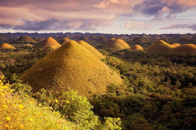 """Vào mùa mưa, những ngọn đồi này được phủ một màu xanh mướt mát. Khi những cơn mưa qua đi, toàn bộ các ngọn đồi chuyển sang màu nâu, và vì thế có tên là """"đồi Chocolate"""". Có tổng cộng khoảng 1.776 đồi ở khu vực thuộc đảo Bohol này."""