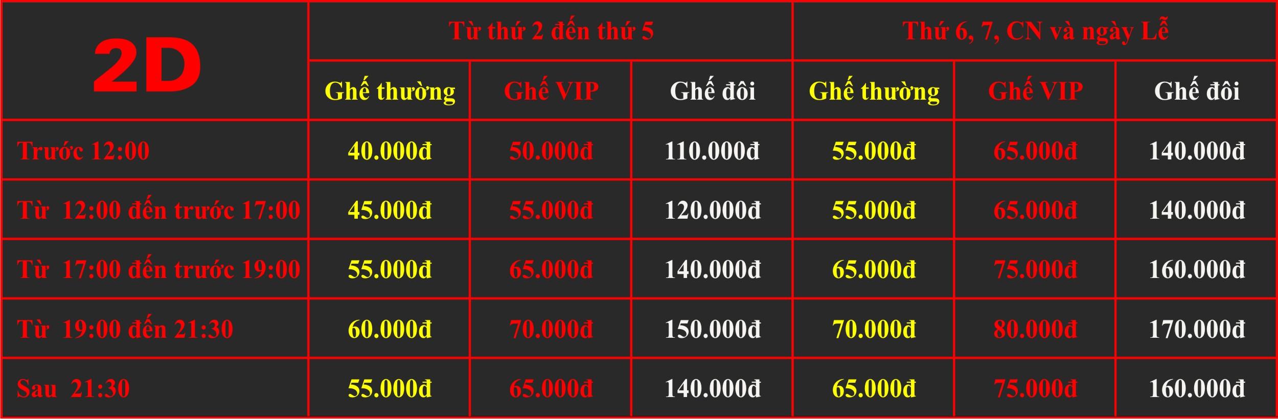 Giá vé chiếu phim 2D rạp Quốc Gia