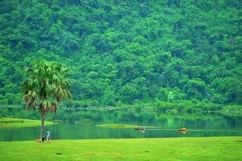 Mặt hồ trong vắt, phản chiếu những hình ảnh lung linh xuống dưới dòng nước
