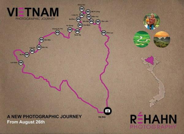 Bản đồ các địa điểm, tỉnh thành ở miền Bắc Việt Nam khi ông Réhahn dừng chân chụp ảnh - Ảnh: Réhahn