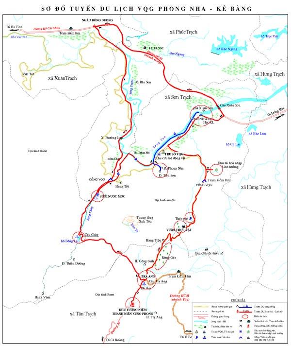 Sơ đồ tuyến du lịch Phong Nha Kẻ Bàng